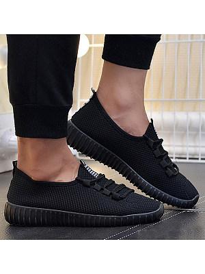 Plain Flat Criss Cross Round Toe Casual Run Sneakers, 4473375