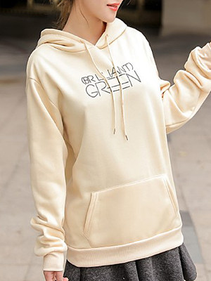 Hooded Drawstring Kangaroo Pocket Letters Long Sleeve Hoodies, 6188168