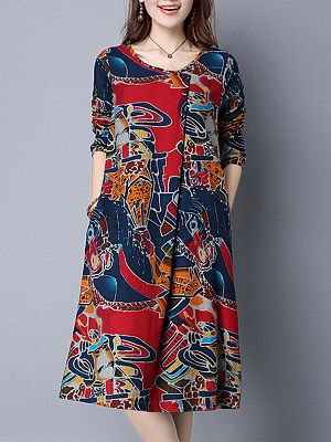 Casual Round Neck Abstract Print Shift Dress, 4992439
