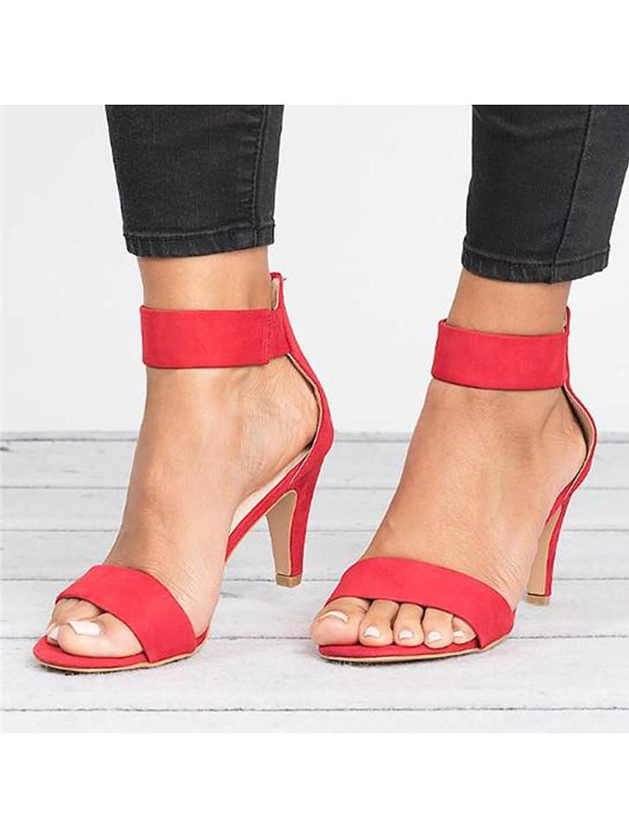 Plain  High Heeled  Velvet  Ankle Strap  Peep Toe  Date Office Sandals