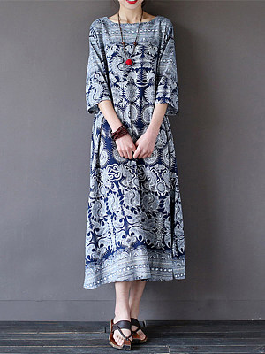Round Neck  Printed  Cotton/Linen Maxi Dress collar_&_neckline:round neck, material:cotton and linen, occasion:casual, package_included:dress*1, pattern_type:print, season:autumn*winter, sleeve_length:half sleeve, how_to_wash:cold  hand wash, supplementary_matters:accessory is excluded., length:124,bust:104,