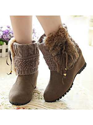 Plain Invisible Round Toe Boots, 9474412