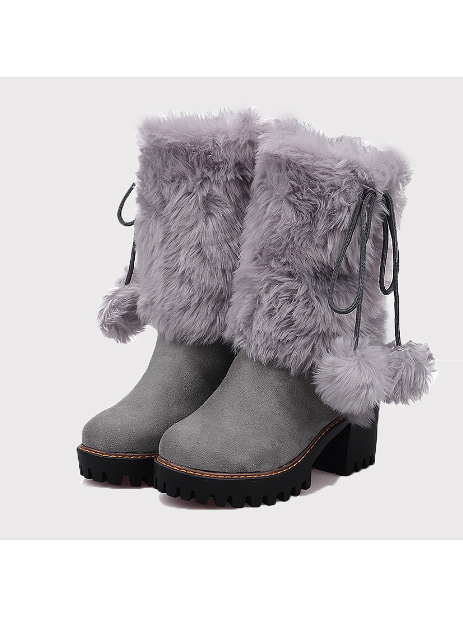 Plain  Chunky  High Heeled  Velvet  Round Toe  Date Outdoor  Mid Calf High Heels Boots - from $34.95