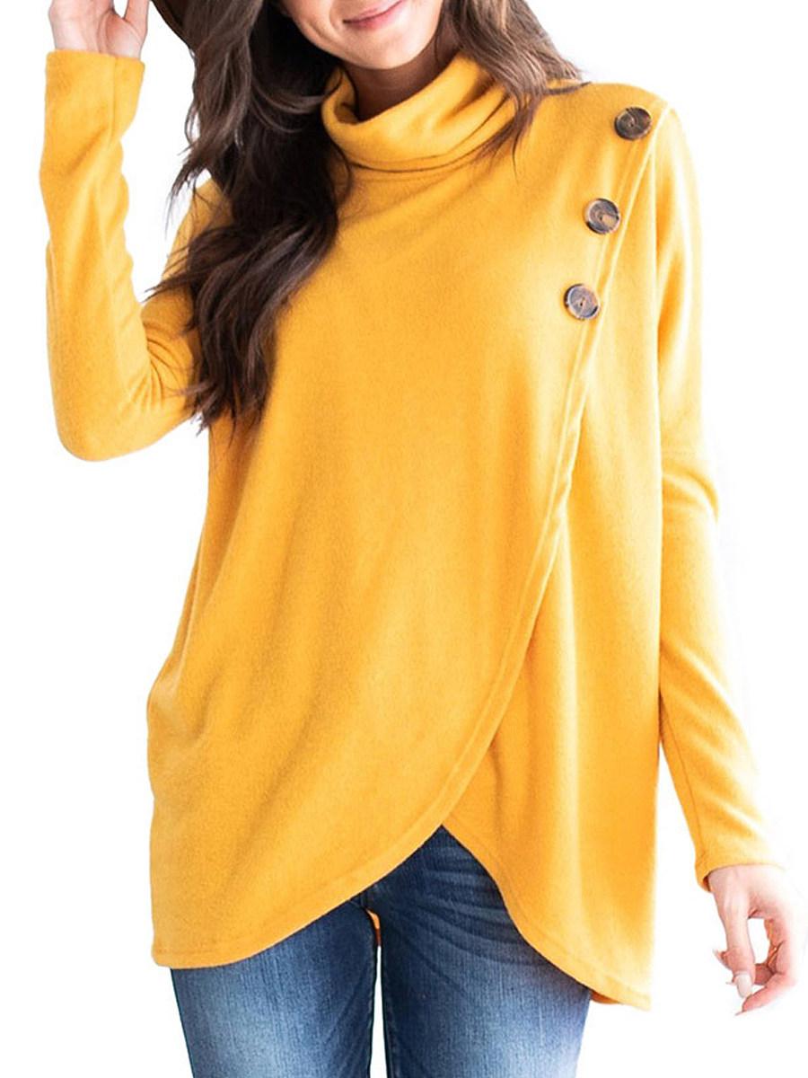 BerryLook Decorative Button  Plain  Long Sleeve Sweatshirts