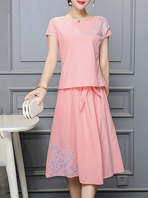 Round Neck  Embroidery Two-Piece Maxi Dress