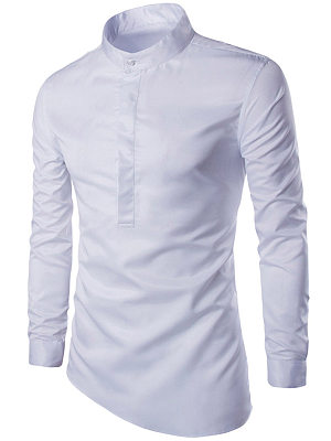 Band Collar Asymmetric Hem Plain Men Shirts, 3835653