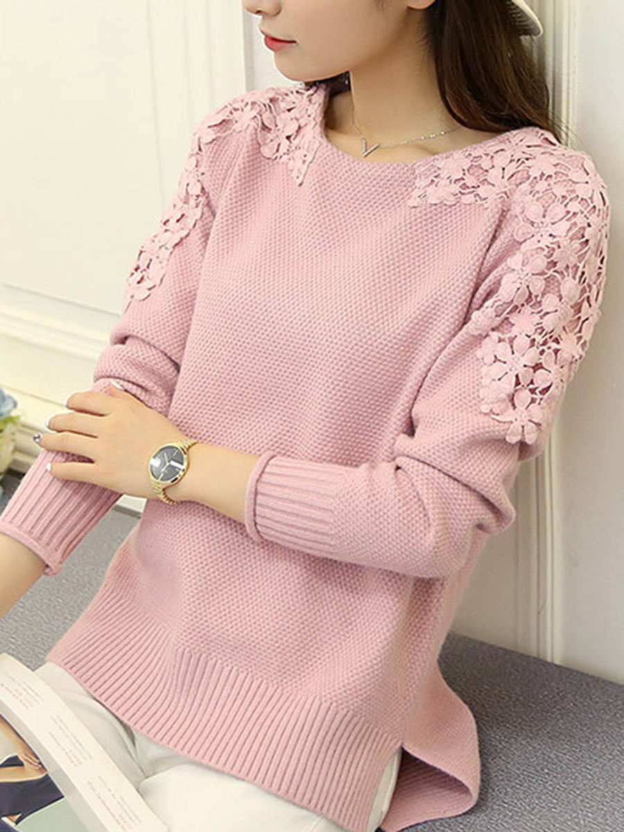 Round Neck Patchwork Floral Knit Pullover