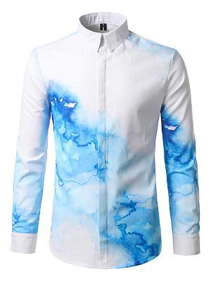 Abstract Print Long Sleeve Men Shirts