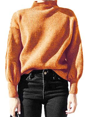 Short High Collar Patchwork Brief Plain Puff Sleeve Long Sleeve Knit Pullover, 8469957