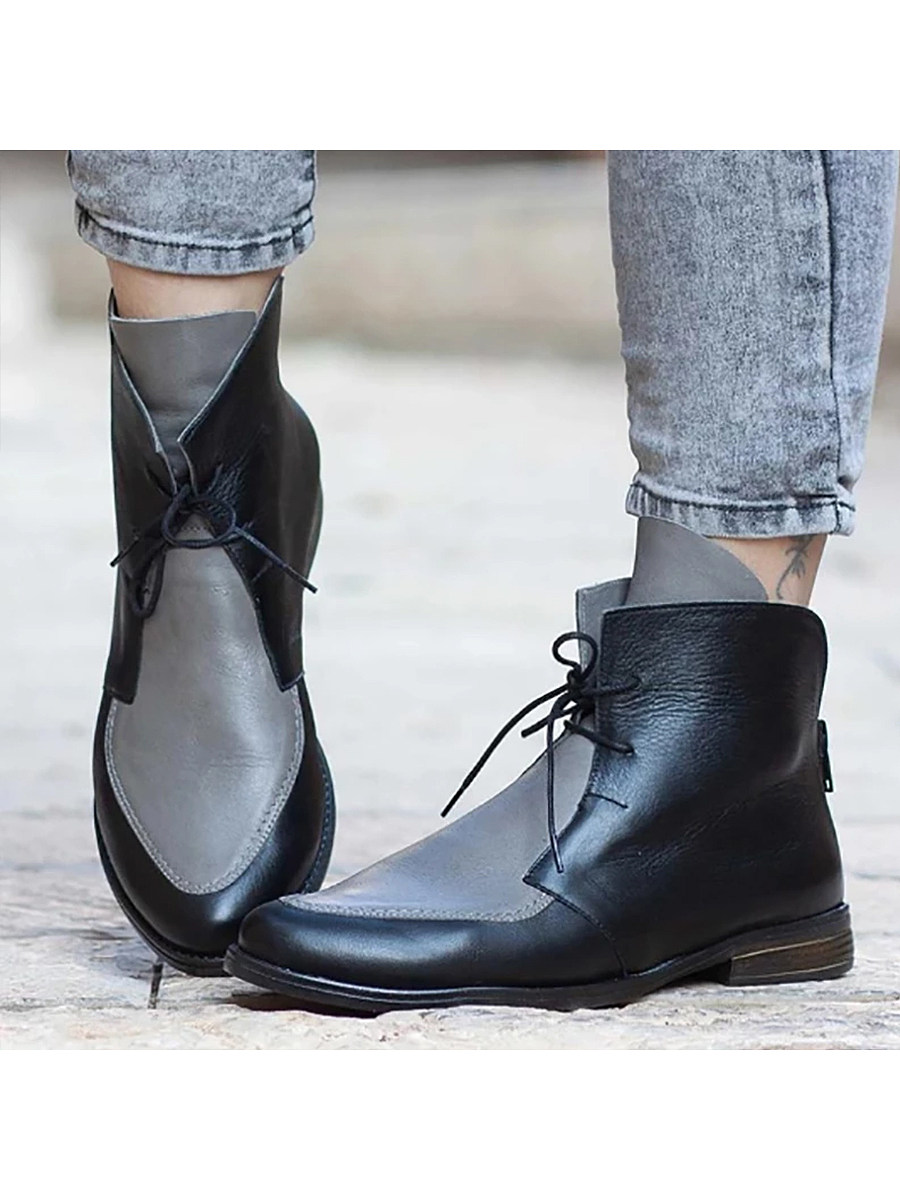 Color Block  Round Toe Boots