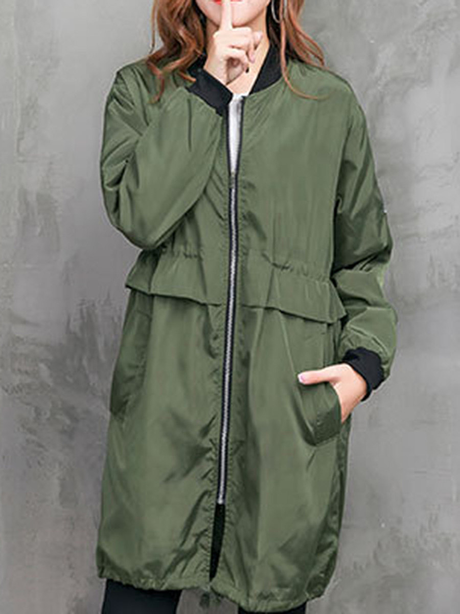 Band Collar  Drawstring  Plain Trench Coat