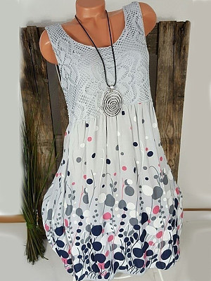 Round Neck Patchwork Print Shift Dress