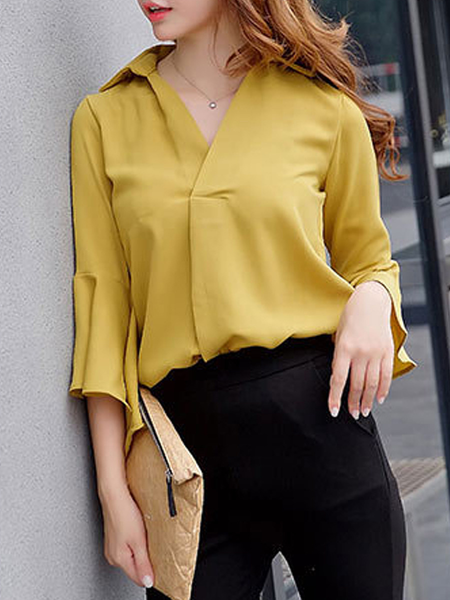 Spring Summer  Polyester  Women  Turn Down Collar  Plain  Bell Sleeve  Three-Quarter Sleeve Blouses