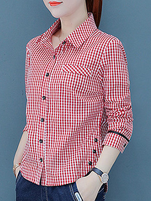 Turn Down Collar Decorative Buttons Checkered Blouses