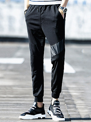 Plain Patchwork Drawstring Men's Casual Jogger Pants