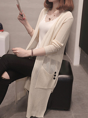 Patchwork Decorative Buttons Elegant Plain Long Sleeve Knit Cardigan, 8440980