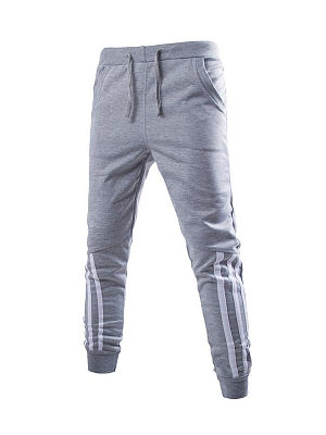 Striped Patchwork Men's Drawstring Casual Pant