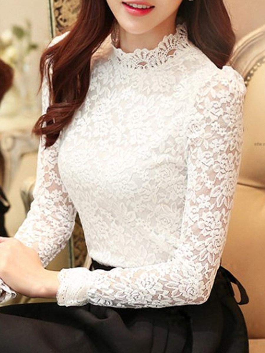 Autumn Spring  Lace  Women  High Neck  Decorative Lace See-Through  Plain  Long Sleeve Blouses