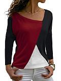 Image of Irregular Collar Patchwork Casual Color Block Long Sleeve T-Shirts