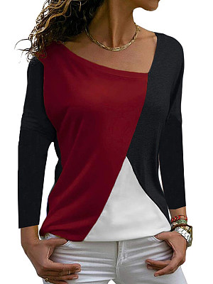 Irregular Collar Patchwork Casual Color Block Long Sleeve T-Shirts фото