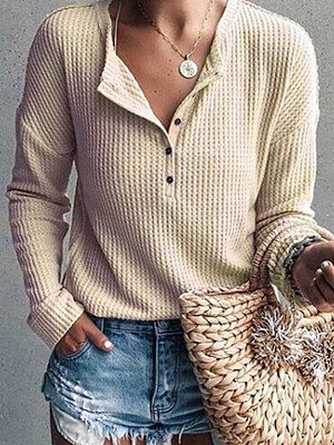 Autumn Spring Polyester Women V-Neck Decorative Button Plain Long Sleeve T-Shirts фото