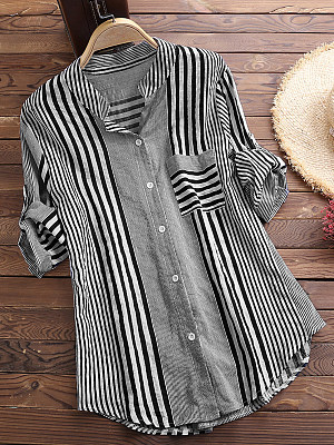 Tachibana Patchwork Brief Striped Long Sleeve Blouse фото