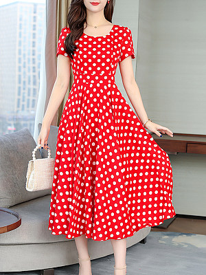 Round Neck Polka Dot Maxi Dress фото