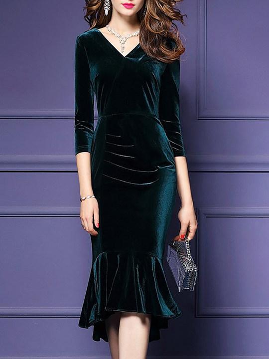 V-Neck Plain Velvet Midi Mermaid Bodycon Dress