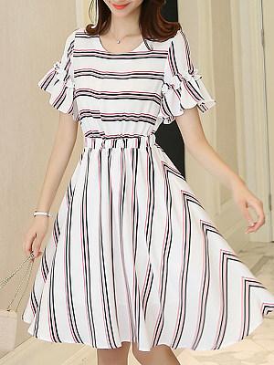 Round Neck Striped Bell Sleeve Skater Dress, 6709014