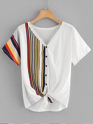 V Neck Patchwork Stripes Short Sleeve T-Shirts