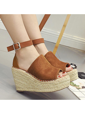 Plain High Heeled Velvet Ankle Strap Peep Toe Date Outdoor Wedge Sandals, 4957411