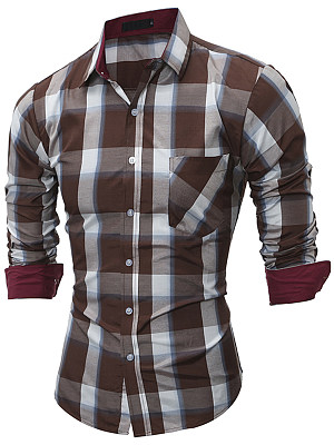 Casual Plaid Patch Pocket Men Shirts