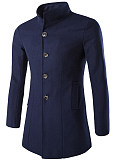 Image of Band Collar Solid Single Breasted Men Woolen Coat