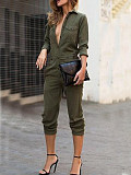 Image of Turn Down Collar Plain Jumpsuits
