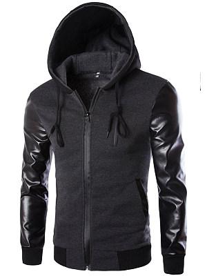 Hooded  Patchwork  Plain Men Jackets