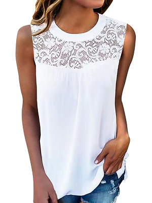 Round Neck Lace Patchwork Plain Sleeveless T-Shirts фото