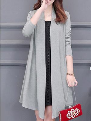 Asymmetric Hem  Plain Knit Cardigans
