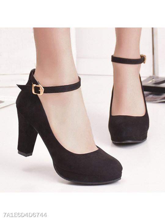 Plain Chunky High Heeled Velvet Ankle Strap Round Toe Date