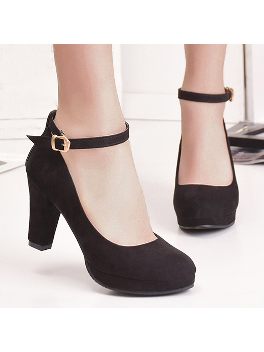 BerryLook Plain  Chunky  High Heeled  Velvet  Ankle Strap  Round Toe  Date Pumps