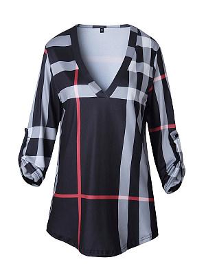 V-Neck Plaid Half Sleeve Plus Size T-Shirts, 4491846
