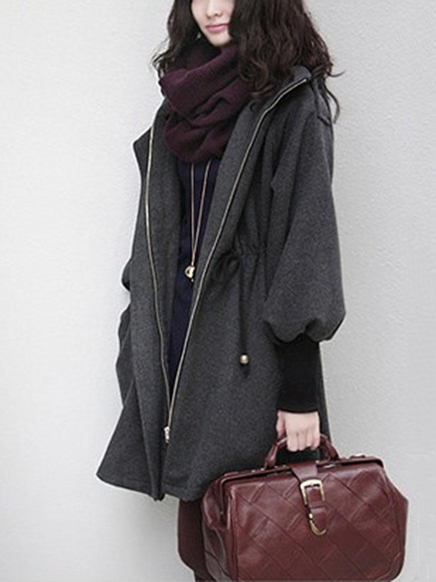 Hooded  Drawstring  Rib Knit Cuffs  Plain  Batwing Sleeve Coats