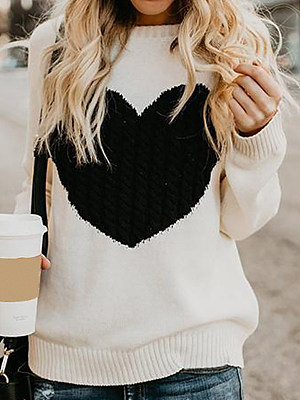 Casual Round Neck Love Knit Loose Long Sleeve Sweater