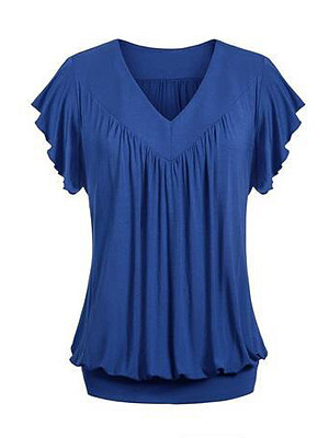 V-Neck Plain Short Sleeve Plus Size T-Shirts, 4476225