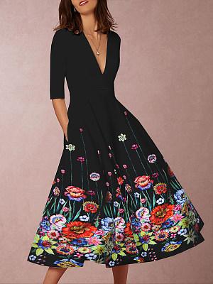Deep V-Neck Floral Printed Skater Dress фото