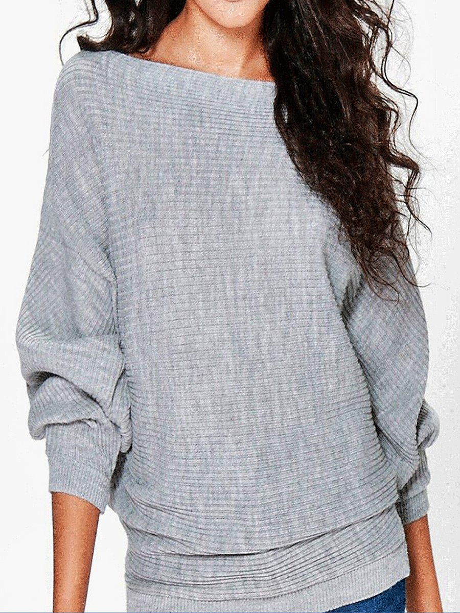 Boat Neck  Plain Striped  Batwing Sleeve Pullover