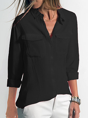 Turn Down Collar Loose Fitting Plain Blouses, 6508636