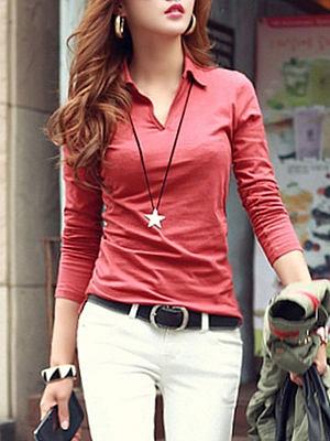 Autumn Spring  Cotton  Women  Turn Down Collar  Plain Long Sleeve T-Shirts