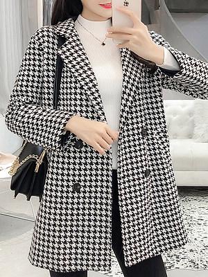 Fold-Over Collar  Plaid Coat