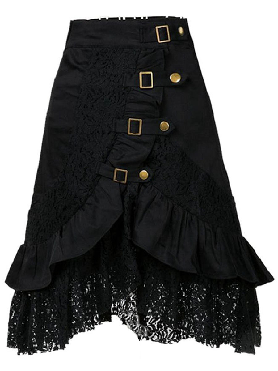 BerryLook Decorative Lace Flounce  Decorative Hardware  Plain  Flared Midi Skirt