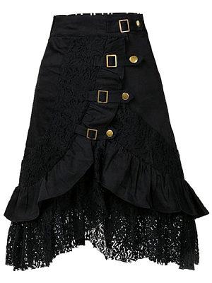 Decorative Lace Flounce  Decorative Hardware  Plain  Flared Midi Skirt